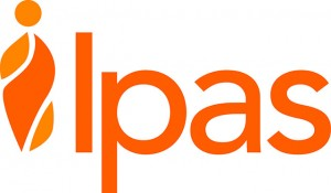 Ipas organizational logo, orange, English, no tagline, print